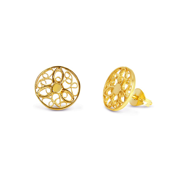 Discus Stud Earrings. Yellow Gold
