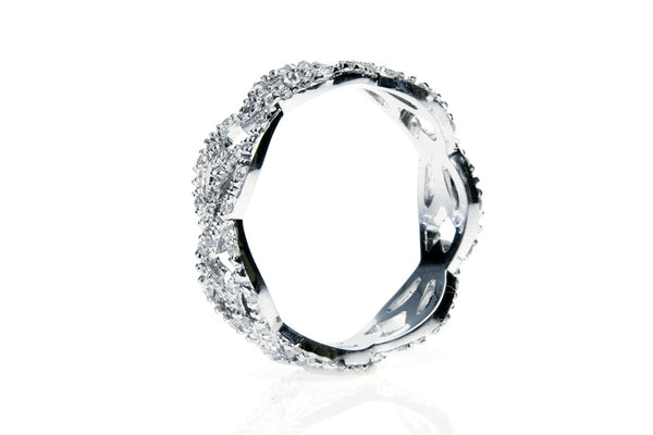 Diamond Leaf Wedding Ring