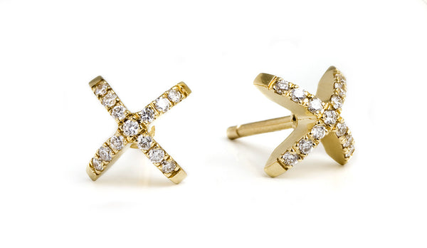 Diamond Sequin Stud Earrings. Yellow gold