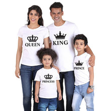 Load image into Gallery viewer, family matching clothes outfits look father mother daughter son crown tshirt king queen