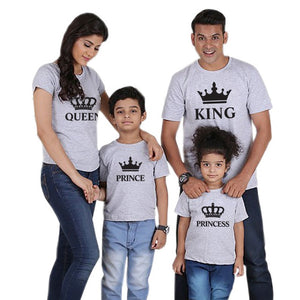 family matching clothes outfits look father mother daughter son crown tshirt king queen