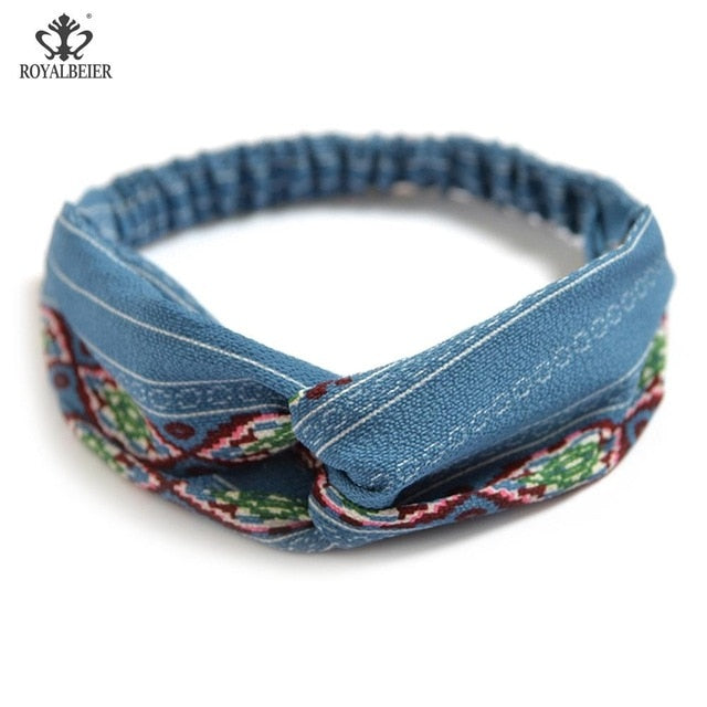 New Cute Knot Plastic Hairbands  for Women Girls Fabric Floral Print