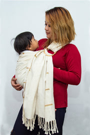 Eri Silk Baby Sling with Ring Hand Woven Hand Spun Eri Natural Fiber Cocoon Color