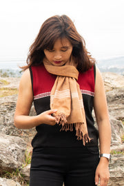 Eri Silk Scarf Hand Woven with Design Weave in Natural Fiber Cocoon Color - Perfect Peace Silk Gift