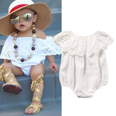Powder White Sweety Ruffle Romper