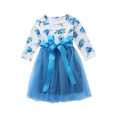 Exotic Blue Rose Tutu Ribbon Dress
