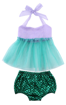 Mermaid Princess Tulle Dress and Sequin Shorts Set