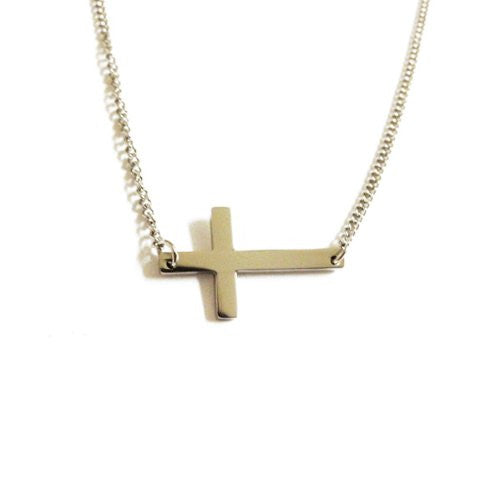 Stainless Steel Horizontal Cross Necklace 18 inch