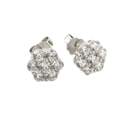 Sterling Daisy Flower Pave Cluster Stud Earrings
