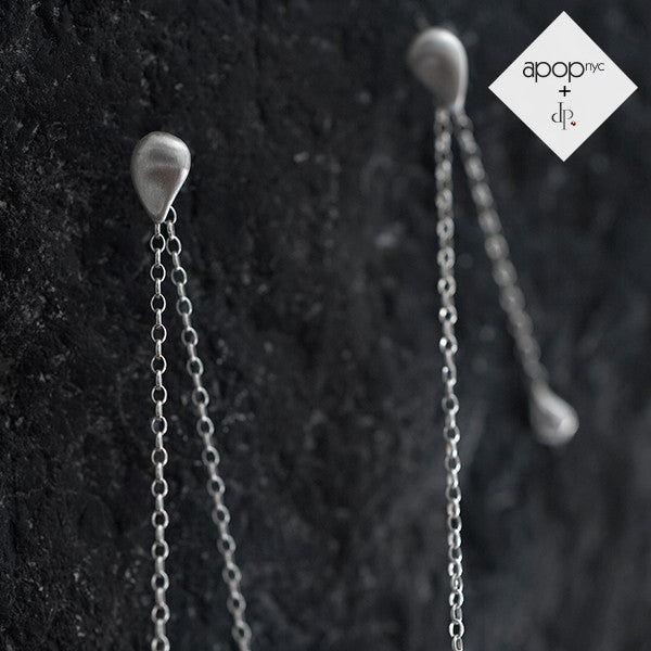 Daphne P. Matte Rosy Teardrop Long Drop Chain Earrings