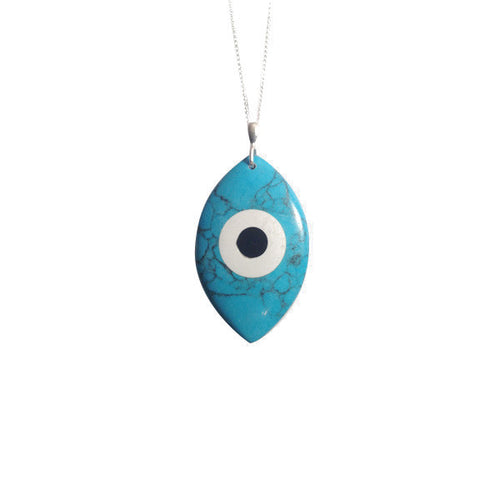 Sterling Silver Turquoise Blue Evil Eye Pendant