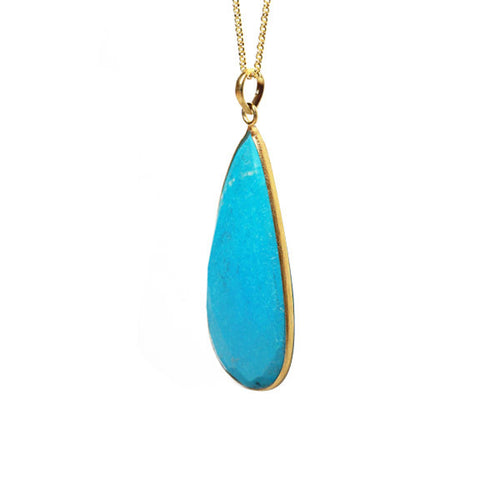Gold-Dipped Turquoise-Color Stone Pendant Necklace