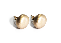 Gold-Dipped Matte Round Puffy Stud Earrings