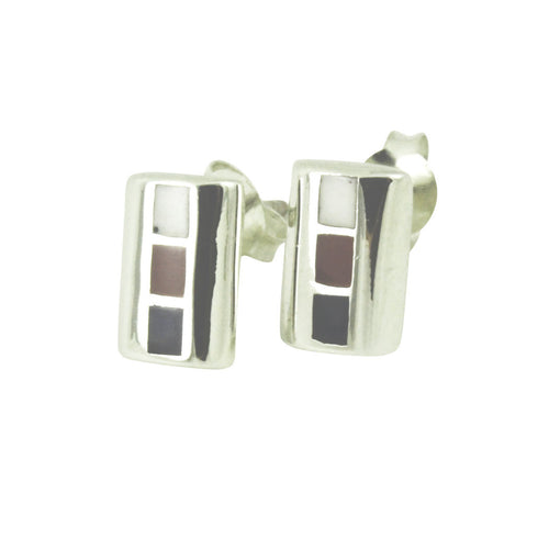 Sterling Enamel Accent Bar Earrings
