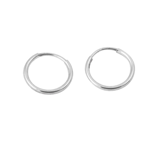 Sterling Silver Mini Plain Sleeper Hoop Huggie Earrings