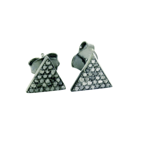 Blackened Silver Pave Cluster Diamond Triangle Earrings