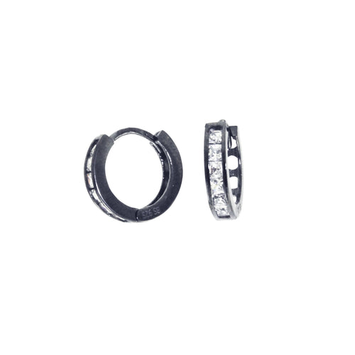 Blackened Silver Mini Round Huggie Hoop CZ Earrings