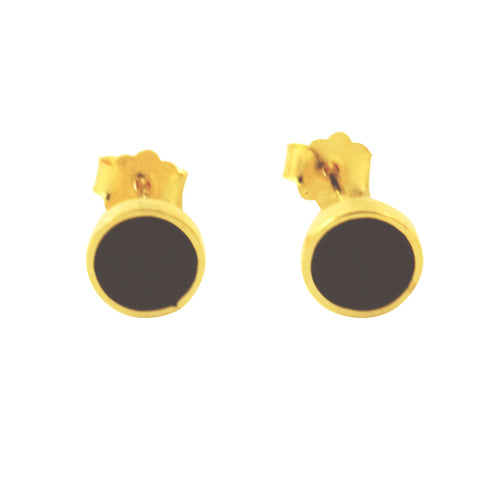 Black Enamel Bezel Stud Earrings Gold-Dipped