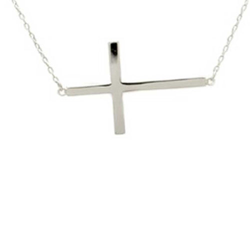 Sterling Silver Sideways Large Cross Necklace