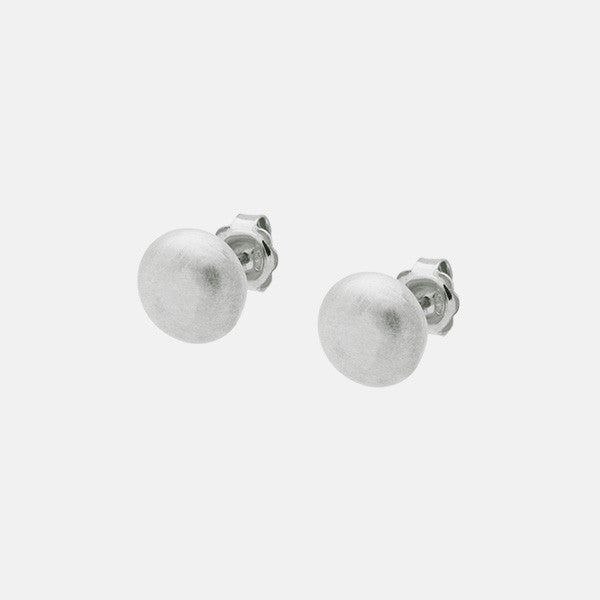 Matte Sterling Silver Round Disc Earrings