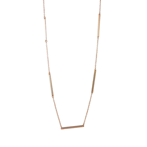 Rosy Bar Link Layering Necklace