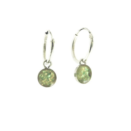 Sterling Silver Hoop & Enamel Dangle Earrings