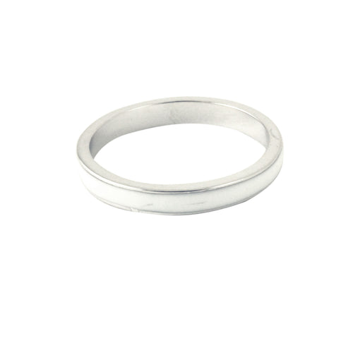 Sterling Silver White Enamel Ring