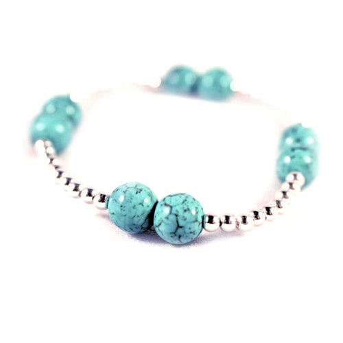 Sterling Silver Beaded Turquoise Bracelet Stretch