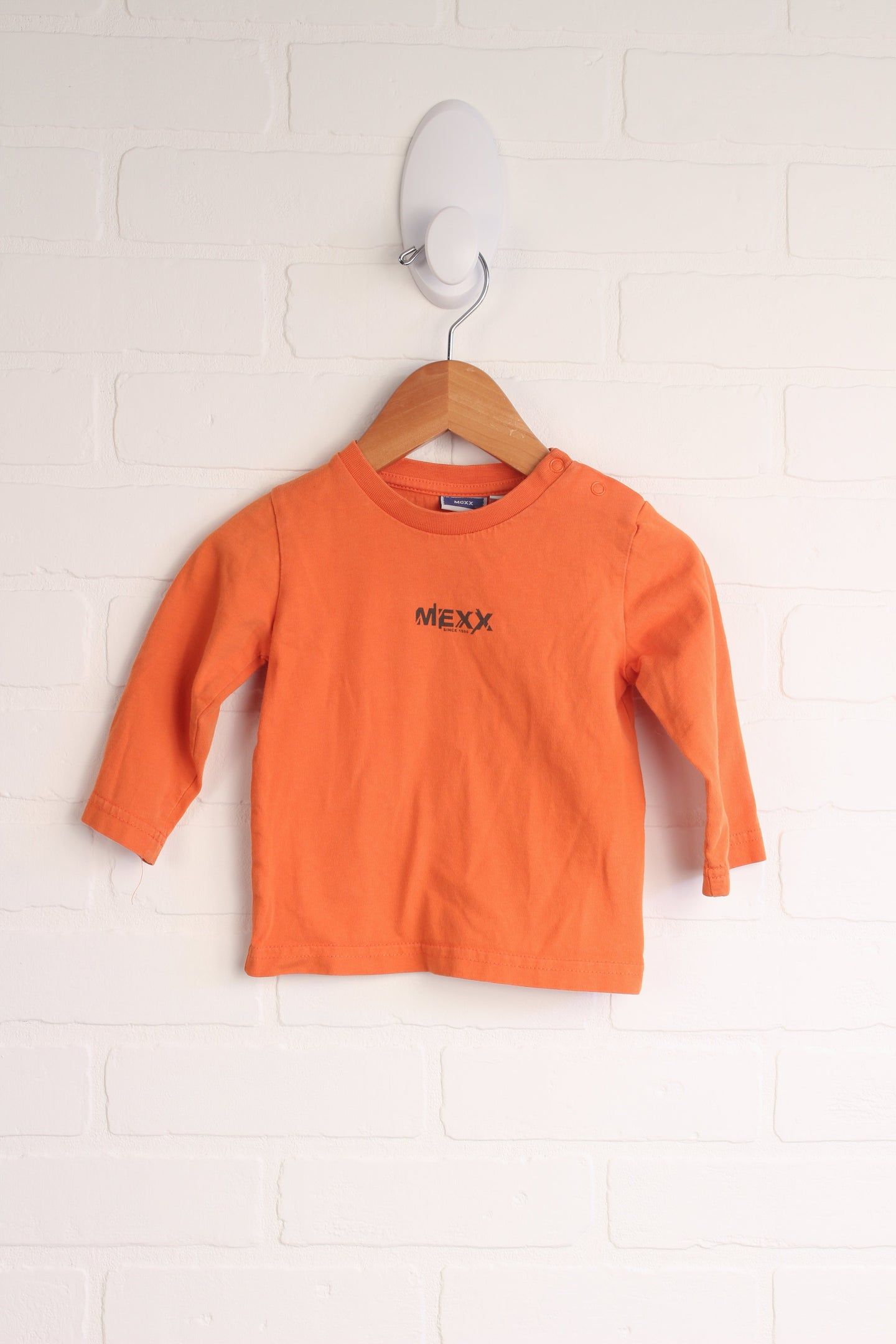 Orange Long-Sleeved Logo T-Shirt (Size 74 / 9-12M)