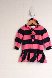 Hot Pink + Navy Dress with Bloomers (Size 9M)