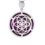 Silver Seed of Life Amethyst Pendant
