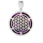 Silver Flower of Life Amethyst Pendant