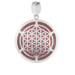 Silver Flower of Life Rose Quartz Pendant