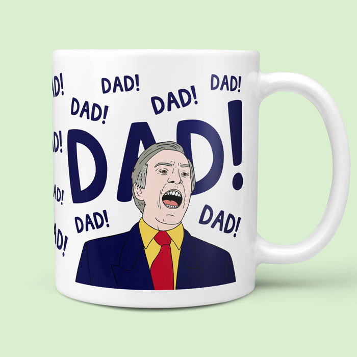 funny alan partridge mug with the word dad repeated around it