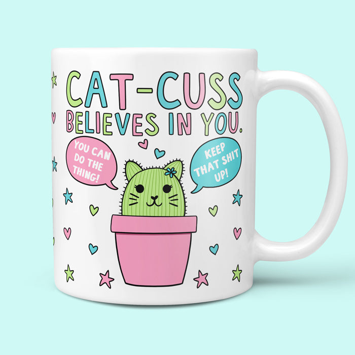 Funny Mug Showing Cat-Cuss With Motivational Quotes