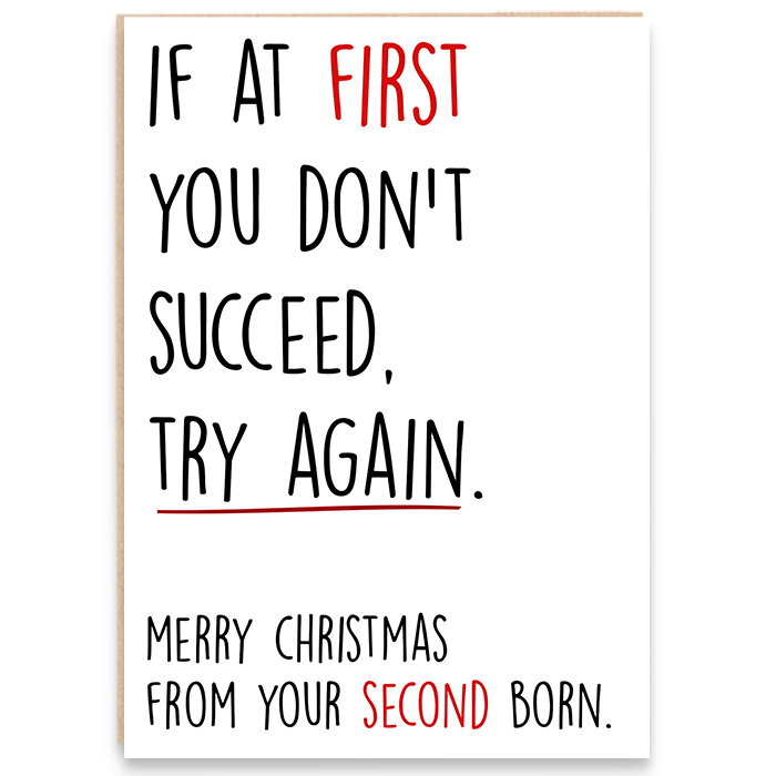 Christmas card that says if at first you don't succeed, try again. Merry christmas from your second born.