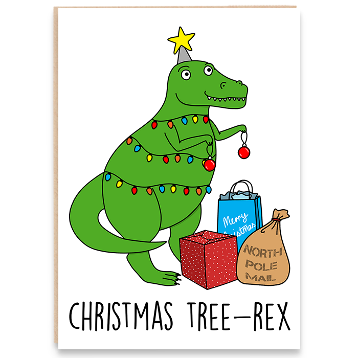 dinosaur with christmas lights and gifts and says christmas tree-rex.