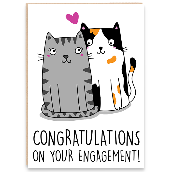 Engagement card with an illustration of two cats and says congratulations on your engagement.
