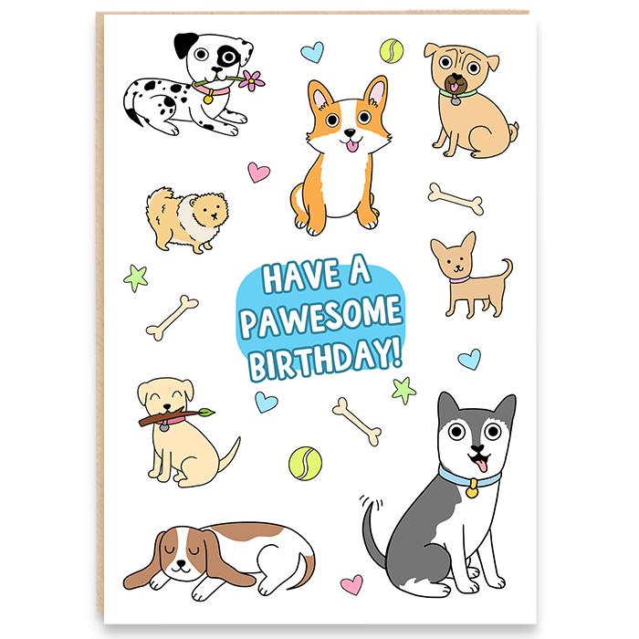 Cute dogs card that says Have A Pawesome Birthday!