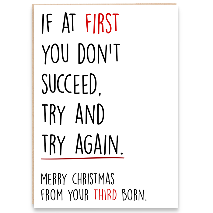 Christmas card that says if at first you don't succeed, try and try again. merry christmas from your third born.