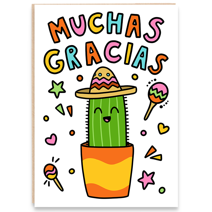 Thank you card. Fun cactus illustration. Muchas gracias.