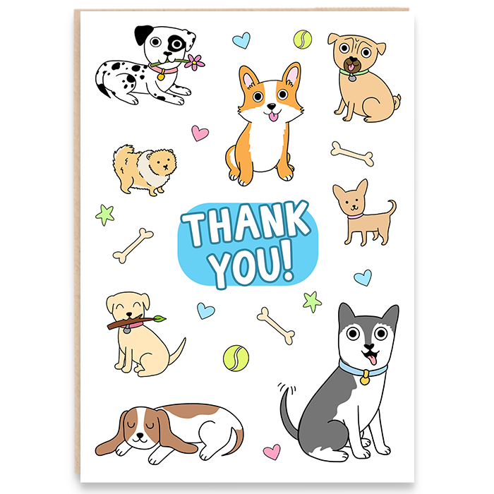Illustrated card featuring dogs and says THANK YOU!