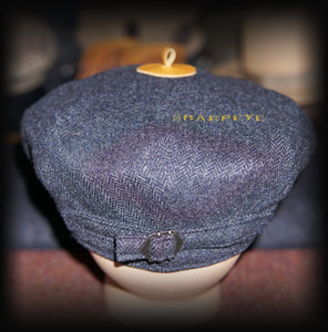 Wayfarer Cap - Navy Herringbone - Cashmere - reduced from £85