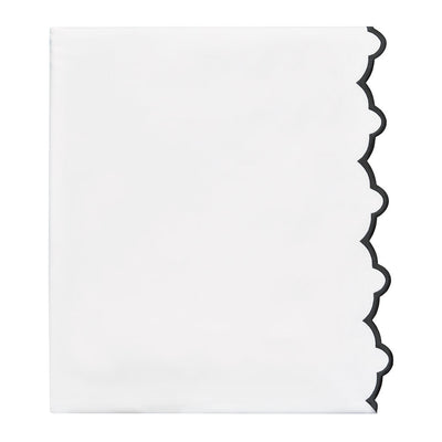 Black Scalloped Embroidered Flat Sheet