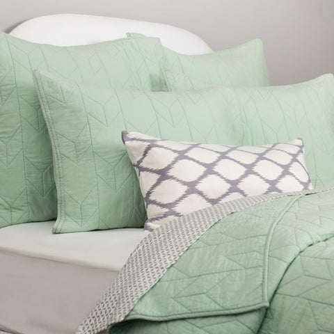 Bedroom inspiration and bedding decor | The Chevron Seafoam Green Quilt & Sham | Crane and Canopy