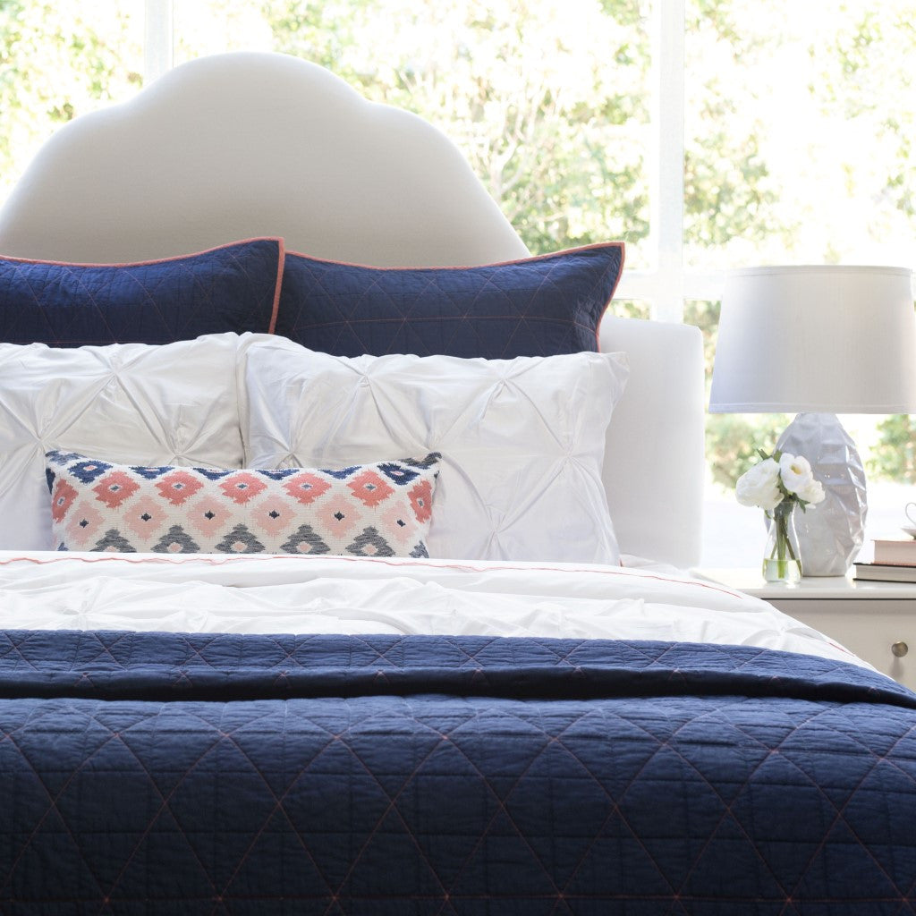 Bedroom inspiration and bedding decor | The Diamond Box-Stitch Navy Blue Quilt & Sham Duvet Cover | Crane and Canopy