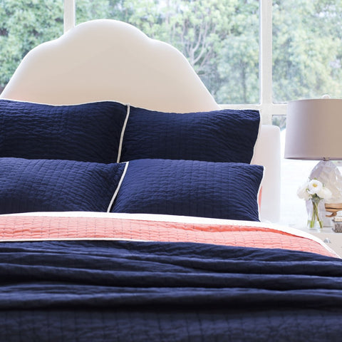 Bedroom inspiration and bedding decor | The Reversible Pick-Stitch Navy Blue Quilt & Sham | Crane and Canopy