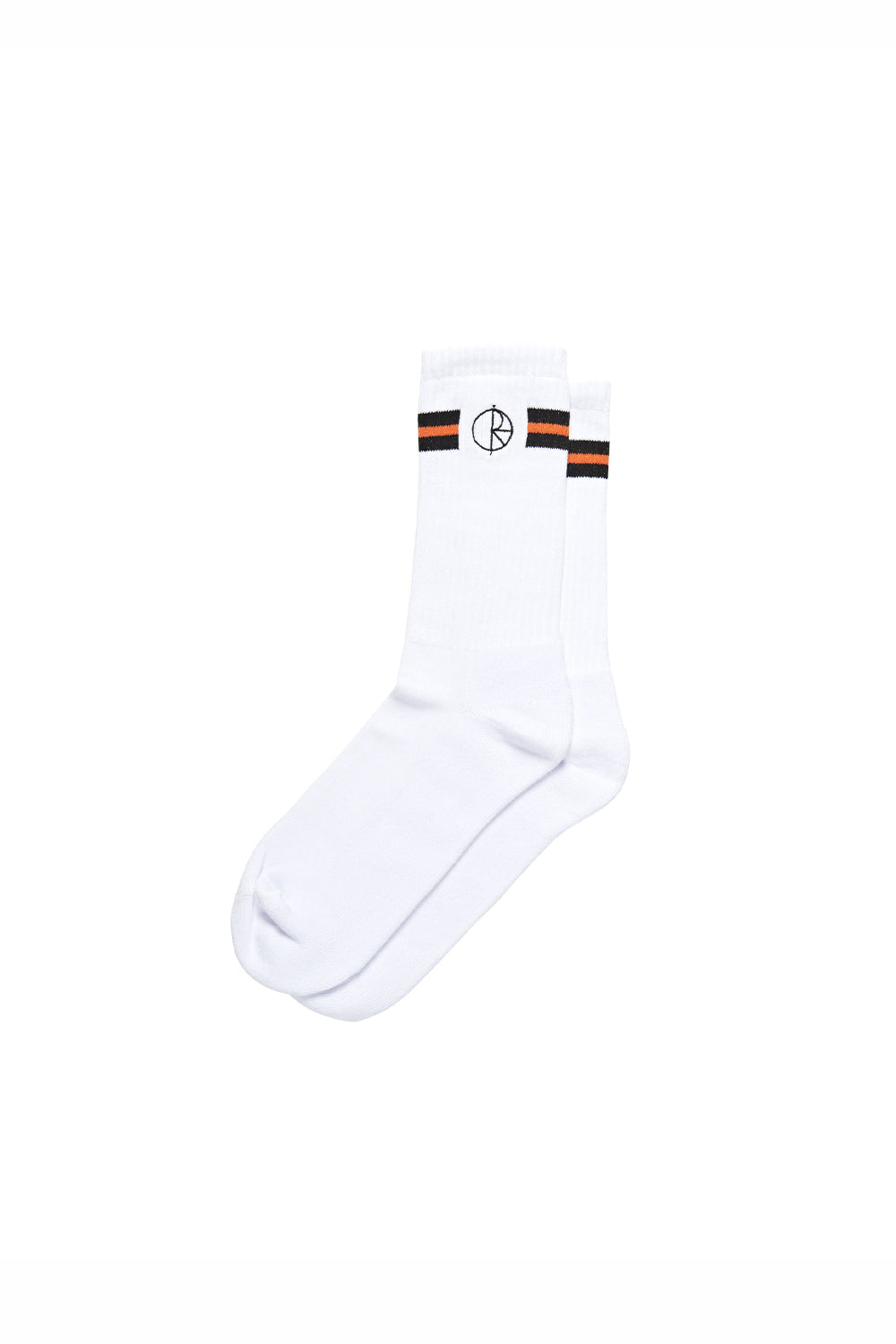 Polar Skate Co Stroke Logo Socks - Black/White/Orange | Buy Polar Skate Co Online