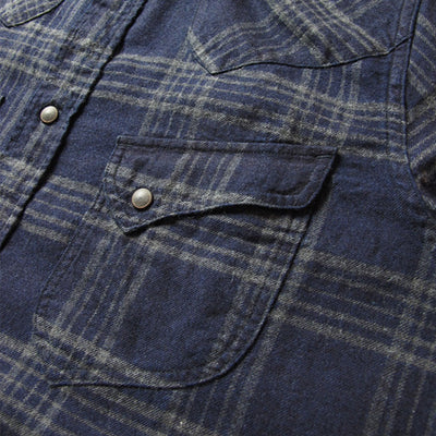 Pure Blue Japan Indigo Check Flannel Western Shirt (Color 3)