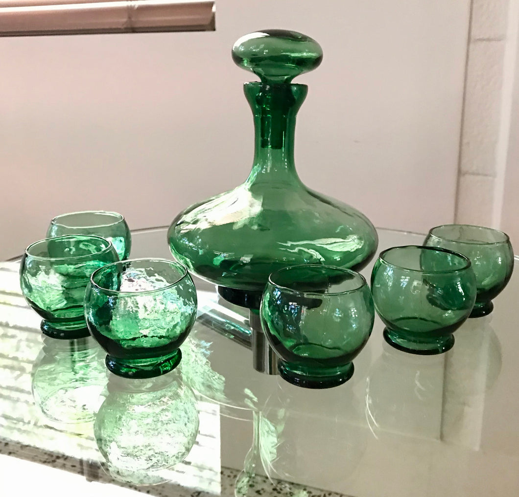MCM Green Italian Glass Decanter Set